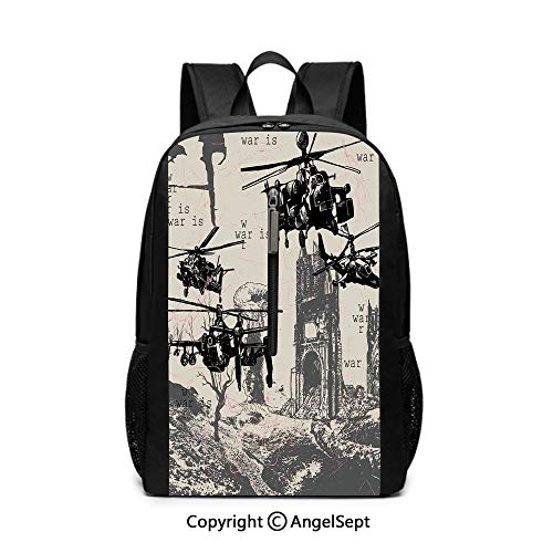 Travel Backpack Business,War Home Decor,A Hand Drawn Scene as Battle Atomic Bomb Explosion Helicopters City Ruin Inferno,Black12x17x6.5inches,School Waterproof knapsack