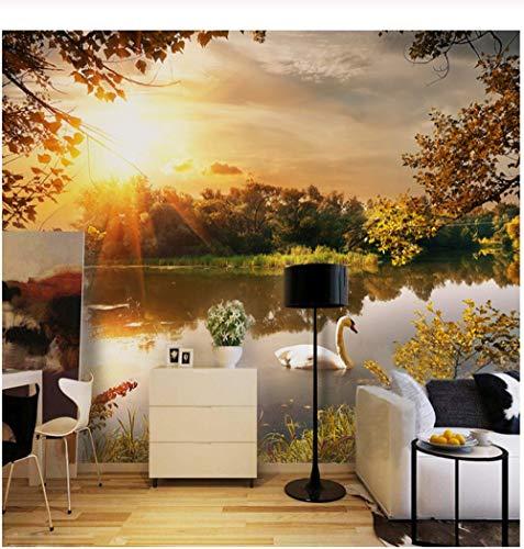 (3D Wall Mural Wallpaper Rural Scenery Lake Swan Living Room TV Sofa Bedroom Backdrop Mural 3D Wallpaper Roll-360x230cm)