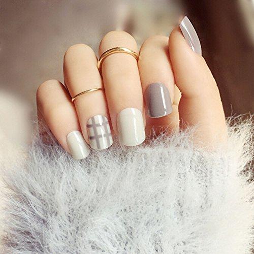 Amazon Yean Set Of 24 Bridal False Nails Grey Stripe Nail Vintage Short Fake Tips Strips With Glue And Adhesive Tab For Women Girls