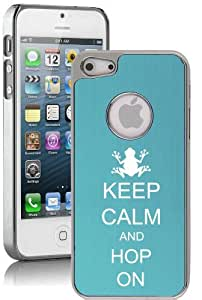Apple iPhone 5c Aluminum Plated Chrome Hard Back Case Cover Keep Calm and Hop On Frog (Light Blue)