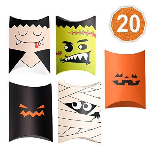 Cookie Monster Halloween Pail (Halloween candy treat boxes 20 Pack Dracula, Mummy, Frankenstein Jack O Lantern Pumpkin Goodie Boxes for Party favors, decorations and Trick or Treat party)
