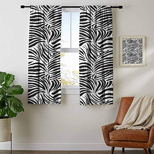 (youpinnong Zebra Print, Curtains Small Window, Striped Zebra Animal Print Nature Wildlife Inspired Simplistic Illustration, Kids Room Artwork 2 Panels Set, W63 x L45 Inch Black White)