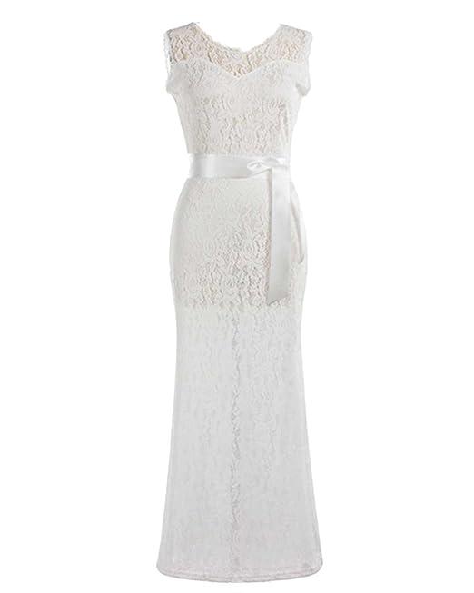 Moollyfox Vestidos Largos Elegantes de Mujer Vintage Flores Encaje Coctel Vestido de Novia Blanco S
