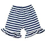 Wennikids Baby Girl Stripe Cotton Ruffle Girl Shorts Large Navy Blue