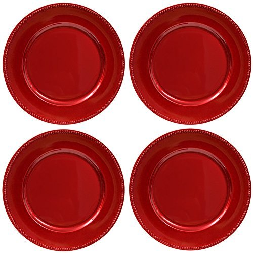 Plate Chargers Set of 4 Red Beaded Rim Round Holiday Table Decoration Heavy-duty Plastic Dinner Party (Red Charger Plate)