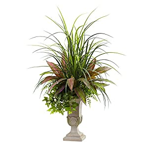 Nearly Natural Mixed Grass, Dracena, Sage Ivy & Fern with Planter, 3' 92