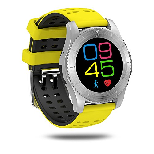 KKtick No.1 GS8 Smartwatch Bluetooth 4.0 SIM card Call Message Heart Rate Monitor For IOS Android (Yellow) (1 Call Furniture)