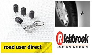 Richbrook Wheel Tyre Car Vehicle Magnetic Never Lose BLACK Valve Dust Caps