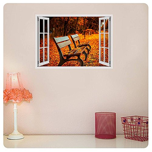 Alonline Art - Bench In A Park Fake 3D Window Poster Prints Rolled Print