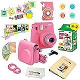 Fujifilm Instax Mini 9 Instant Camera FLAMINGO PINK w/ Film and Accessories – Polaroid Camera Kit