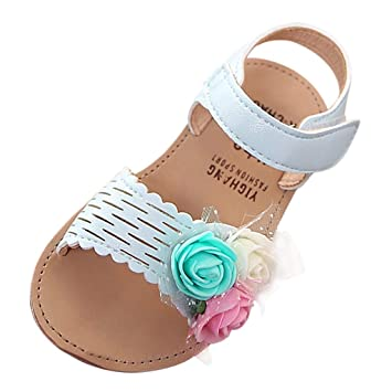 Age:12-15Months, Beige Breathable Hollow Sandals For Infant Kids Baby Girls Sweet Flower Close-toe Sandals Princess Shoes Summer Flat Shoes