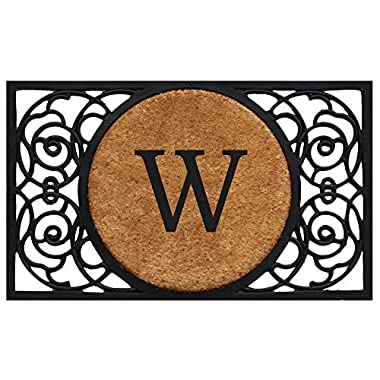 Home & More 180031830W Armada Circle Doormat, 18  x 30  x 1 , Monogrammed Letter W, Natural/Black