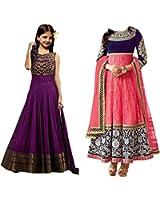 Market Magic World Girl's Purple & Pink Net Semi Stitched Combo Pack lehenga Choli, Salwar Suit, Gown (Kids Wear_Free Size_8-12 Year age)