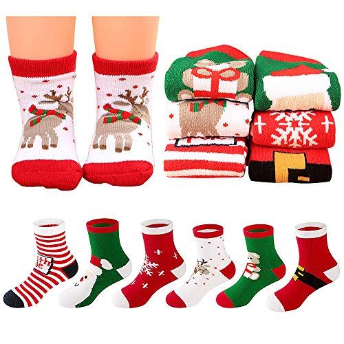 Calcetines Navideños para niños 6 Pares