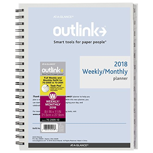 "AT-A-GLANCE Weekly / Monthly Refill, January 2018 - December 2018, Wirebound, 8-1/2"" x 11"", Outlink (70200910)"