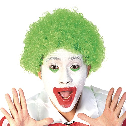Green Short Clown Afro Wig - Curly 70s 80s Disco Cosplay Synthetic Hair 8