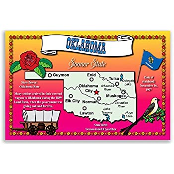 Amazon Oklahoma State Map Postcard Set Of 20 Identical