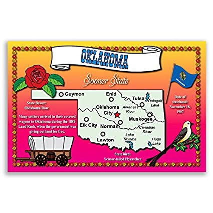 Amazon Oklahoma State Map Postcard Set Of 20 Identical