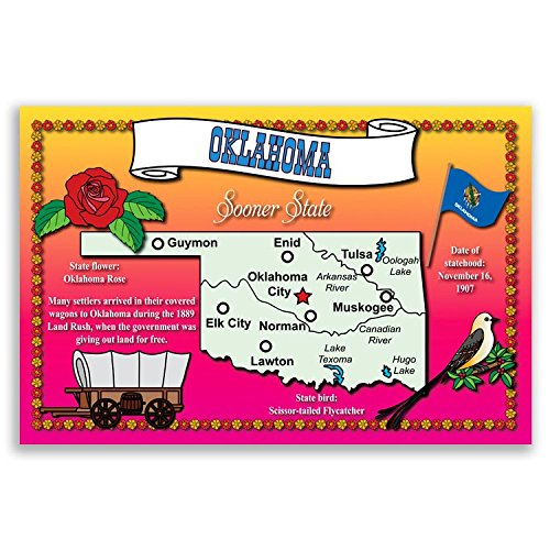 OKLAHOMA STATE MAP postcard set of 20 identical postcards. Post cards with OK map and state symbols. Made in ()