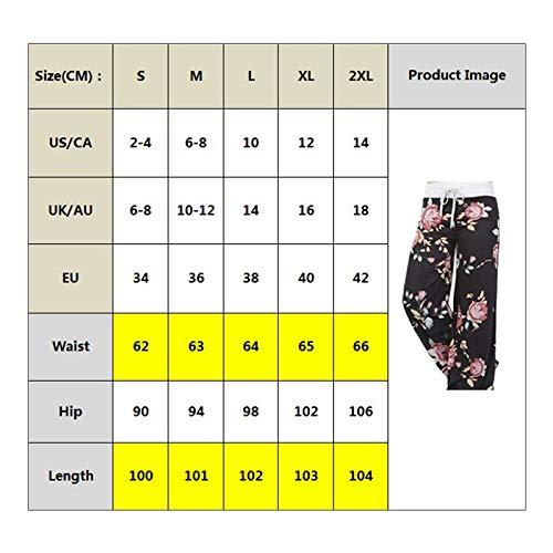 S Salon De Larges Décontracté Pyjama Cordon Pour Serrage Toogoo Été Imprimé Pantalon Avec Jambes Floral Femmes Noir À AOFTUWfq