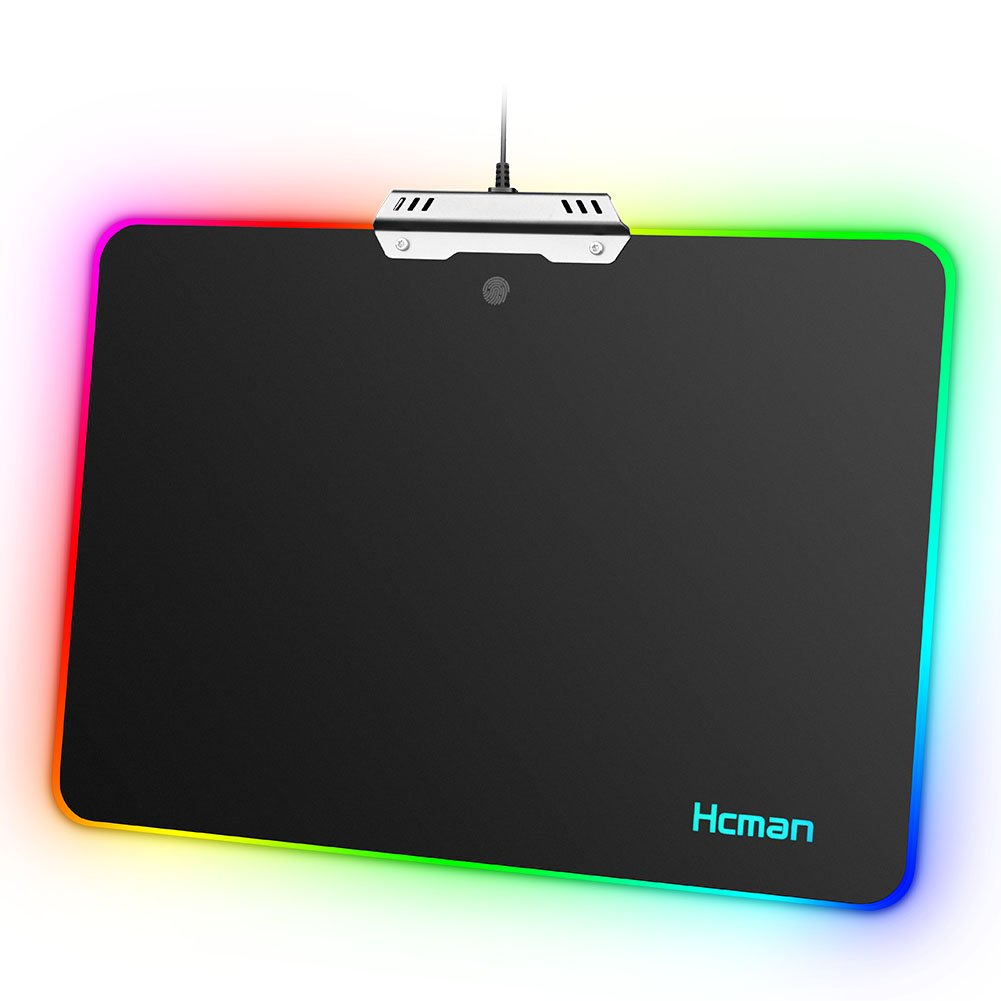 LED RGB Gaming Mouse Pad Hcman Lighting Hard USB Wired Colorful Waterproof Mice Mouse Mat for Computer PC & Mac Gamers (Black)