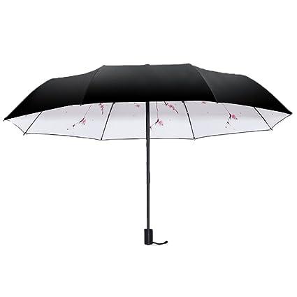 AFCITY Mujer Hombre Paraguas Viaje Sombrilla Plegable Impermeable Negra de la protección del Paraguas Sombrilla Plegable