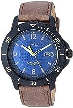 Timex Men's TW4B14600 Expedition Gallatin Solar Brown/Black/Blue Leather Strap Watch