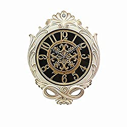 SMC 25-inch Super Large Living Room resin Wall Clock Silent Sweep Second Quartz Movement Battery Operated Wall Clocks with Decorative Border (Porcelain White - Gold)