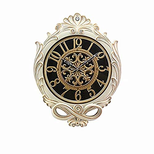 SMC 25-inch Super Large Living Room resin Wall Clock Silent Sweep Second Quartz Movement Battery Operated Wall Clocks with Decorative Border (Porcelain White - Gold) by SMC