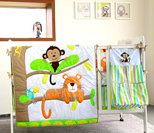 BabyCrib Unique Cute Adorable, Tiger and Monkey On Tree, Green and Brown, 10 Piece Bedding Set, Including Crib Bumper, Diaper Stacker, and Bonus Baby Monthly Milestone Blanket For Newborn Baby Boy.