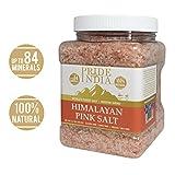 Pride Of India - Himalayan Pink Salt - 84+ Natural Mineral Enriched (Pure Himalayan Pink Salt, Medium Grind 2.5 Pound Jar)