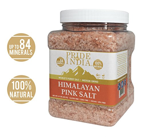 Pride Of India - Pure Himalayan Pink Salt - Enriched w/ 84+ Natural Minerals, Medium Grind 2.5 Pound (40oz) Jar - Himalayan Salt, Himalayan Pink Salt, Pink Himalayan Salt, Grind Salt, Pure Rock Salt (Best Iodized Salt In India)