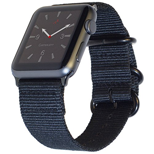 Apple Watch Band 42mm NYLON NATO iWatch Band Black- Sporty Woven Replacement Wrist Straps, Durable Buckle Clasp & Adapters for 42 mm Apple Watch Series 2, 1, New Series 3, Sport Nike+ by CARTERJETT
