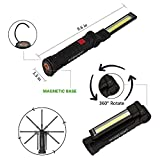 AstaaCity USB Rechargeable Work Light,Large Portable LED Flashlight with Magnetic Base,Inspection Lamp for Workshop,Garage,Camping,Car Repairing,Emergency Lighting(Black Collapsible)[2018 New]