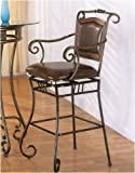 24″H Scroll motif bar stool in metal finish