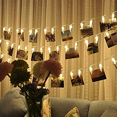 Aplstar 40 LED Photo Clips String Lights,Indoor Fairy String Lights for Hanging Photos Pictures Cards and Memos,Great Holiday Gift for Home Decor(13ft,USB Powered,Warm White)