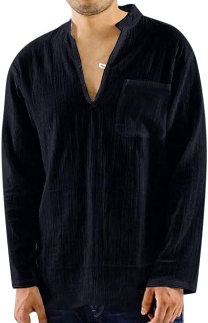 Mens Shirts Linen Tronet Mens Summer Casual Cotton Linen Printing Hoodie Half Sleeve T Shirts Top Blouse
