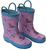Foxfire for Kids Pink and Blue Rubber Boots with Unicorn Pattern Size 1