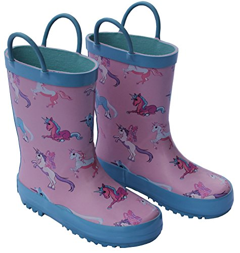 Foxfire for Kids Pink and Blue Rubber Boots with Unicorn Pattern Size 1 by Foxfire for Kids (Image #4)