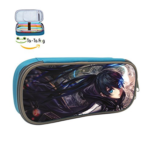 Black Rock Shooter Case Pen Bag Makeup Pouch Durable Students Fashion Various Stationery With Double Zipper