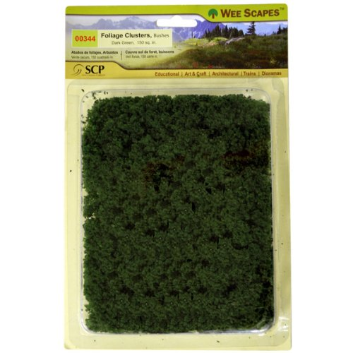 Wee Scapes Architectural Model Foliage Clusters bushes (dark green) pack of 150 sq. (Foliage Bush)