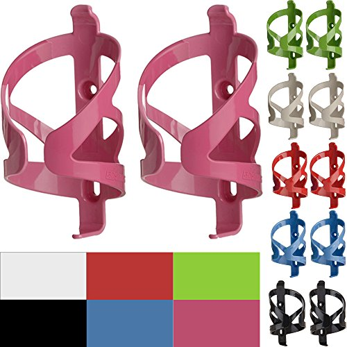 50 Strong Bike Water Bottle Holder 2 Pack – Made in USA – Easy to Install - Durable Bicycle Cage - Pink (Bike Specialized Hybrid)