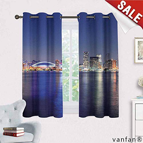 Big datastore Blue Curtain Wand,Canada Toronto Sunset Over The Lake Panorama Urban City Skyline with Night Lights Curtain Liners for Drapes Blackout,Blue Pink Peach W63 x L45 -