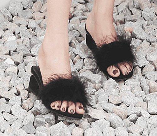 Zapato Con Negro Alto Verano Gruesas Scloths Casual Chanclas Tacón Abierto Para Mujeres wqBUR4xOS