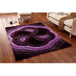 Casamode Functional Furniture Casa Regina Shaggy Collection - 3D Design - Abstract Floral Spiral Swirl Purple Soft Shag Area Rugs 5x7