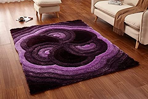Casa Regina Shaggy Collection - 3D Design - Abstract Floral Spiral Swirl Purple Soft Shag Area Rugs 5x7 (5'0