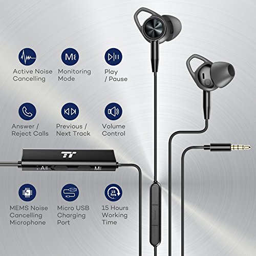 Large Product Image of TaoTronics Active Noise Cancelling Headphones, Wired Earbuds in Ear Stereo Awareness Monitor Earphones with Microphone and Remote (15 Hours Playtime, 3.5mm Jack, Premium Aluminum Matte Black)