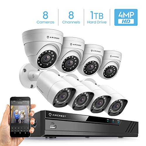 Amcrest 4MP UltraHD Video Security Camera System w/ 4MP 8CH Analog DVR, (8) x 4MP Bullet & Dome Analog Cameras, Pre-Installed 1TB Hard Drive (Supports up to 6TB) (White)