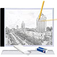 A4 Ultra-thin Portable LED Light Box tracer USB Power LED Artcraft Tracing Light Pad Light Box w Tracing Paper Ruer Erase for Artists,Drawing, Sketching, Animation
