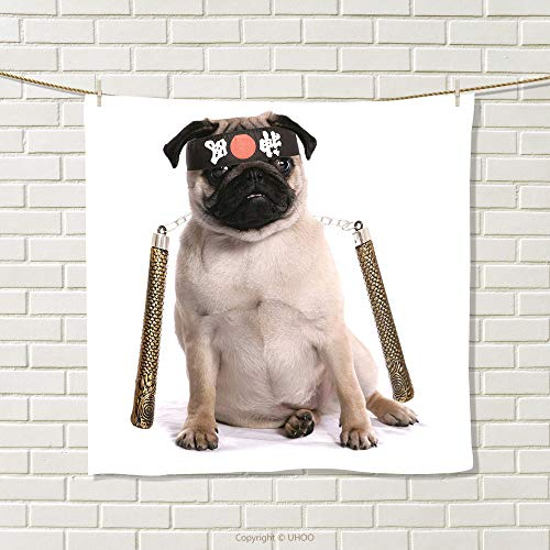 smallbeefly Pug Hand Towel Ninja Puppy with Nunchuk Karate Dog Eastern Warrior Inspired Costume Pug Image Quick-Dry Towels Cream Black Gold Size: W 10